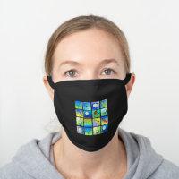 Colorful Golf Images Black Cotton Face Mask