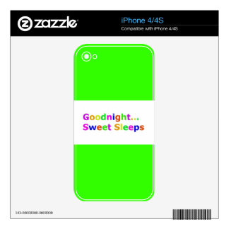 COLORFUL GOODNIGHT SWEET SLEEPS EXPRESSIONS HAPPY iPhone 4 DECALS