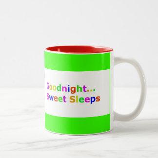 COLORFUL GOODNIGHT SWEET SLEEPS EXPRESSIONS HAPPY Two-Tone COFFEE MUG