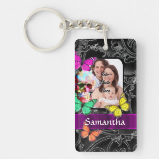Colorful Gothic skull and butterflies Double-Sided Rectangular Acrylic Keychain