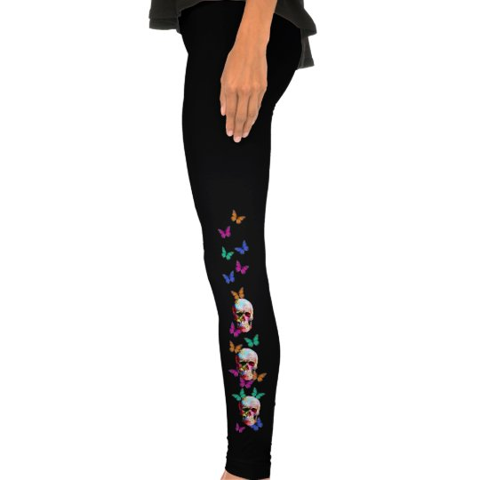 Colorful Gothic Sugar Skull with butterflies Leggings
