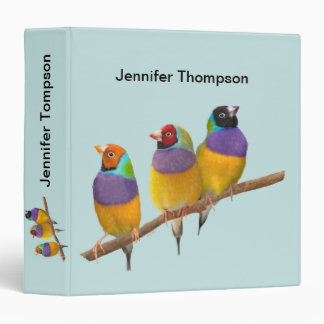 Colorful Gouldian Finches in Pastels 3 Ring Binder