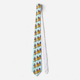 Colorful Gouldian Finches in Pastels Neck Tie