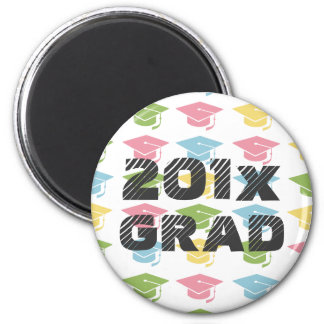 Colorful Grad Hats Custom Magnet Round