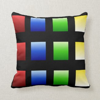 Colorful Gradient Squares Throw Pillow