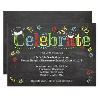 Colorful Graduation Invitaiton, Chalkboard Card