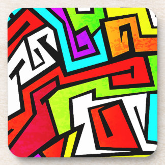 Colorful graffiti illustration coaster