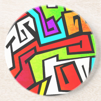 Colorful graffiti illustration sandstone coaster