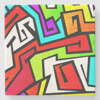 Colorful graffiti illustration stone coaster