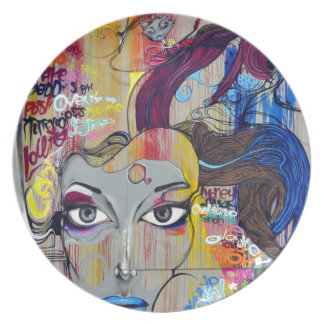 Colorful Graffiti of Woman with Tags Melamine Plate