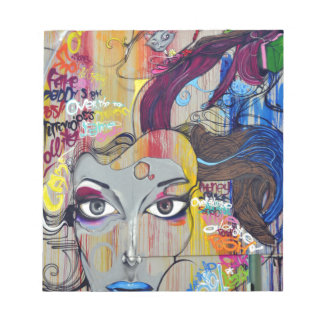 Colorful Graffiti of Woman with Tags Notepad