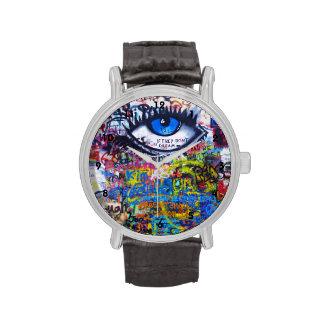 Colorful graffiti street art wristwatch