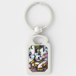 Colorful Graffiti Words Silver-Colored Rectangular Metal Keychain