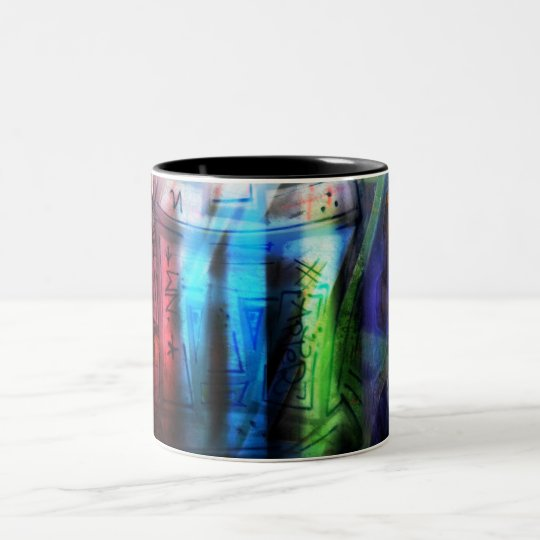Colorful graffitis design Two-Tone coffee mug
