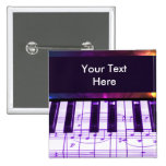 Colorful Grand Piano Keyboard and Music Notes 2 Inch Square Button