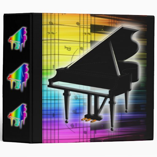Colorful Grand Piano Keyboard And Music Notes 3 Ring