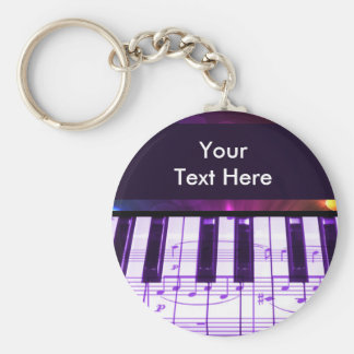 Colorful Grand Piano Keyboard and Music Notes Basic Round Button Keychain