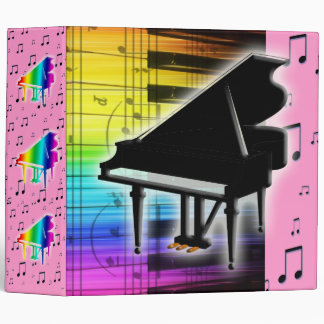 Colorful Grand Piano Keyboard and Music Notes Vinyl Binders