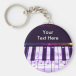 Colorful Grand Piano Keyboard and Music Notes Keychains