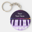 Colorful Grand Piano Keyboard and Music Notes Keychain