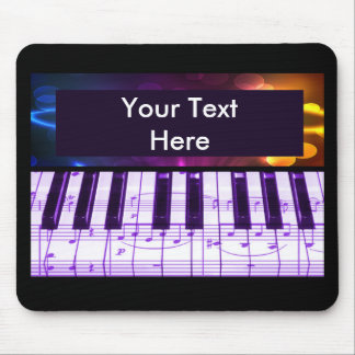 Colorful Grand Piano Keyboard and Music Notes Mousepads
