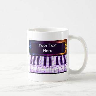 Colorful Grand Piano Keyboard and Music Notes Mug