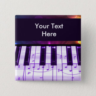 Colorful Grand Piano Keyboard and Music Notes Pinback Button