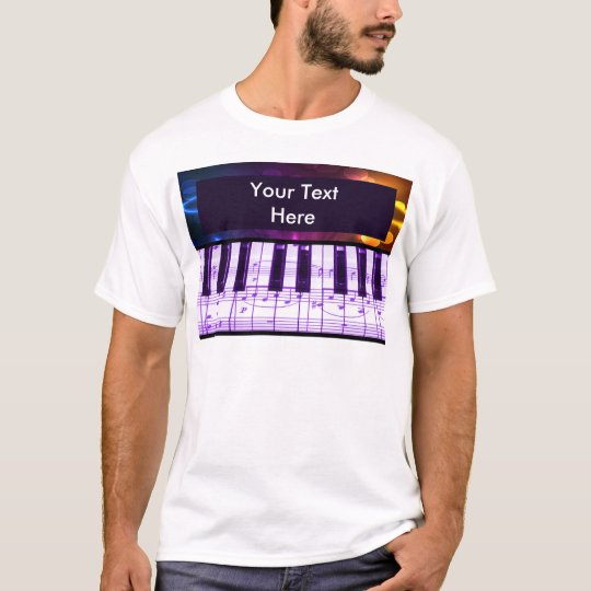 Colorful Grand Piano Keyboard and Music Notes T-Shirt