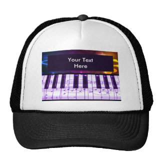 Colorful Grand Piano Keyboard and Music Notes Trucker Hat