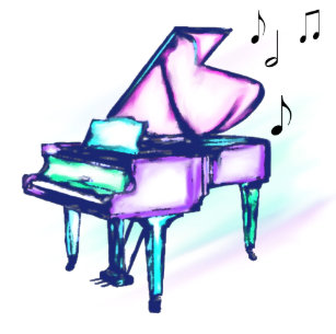 Colorful Grand Piano Watercolor Music Notes Coaster