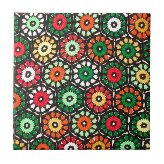 Colorful Granny Circles Crochet Pattern Tile