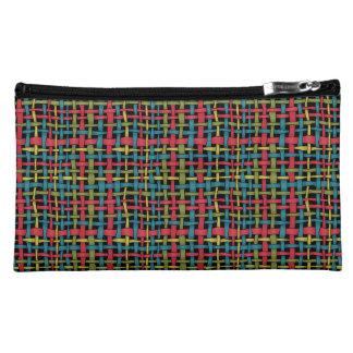 Colorful Graphic Woven Burlap Vivid Makeup Bag