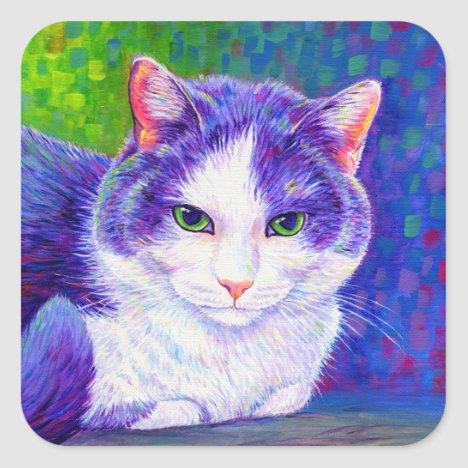 Colorful Gray and White Cat Stickers