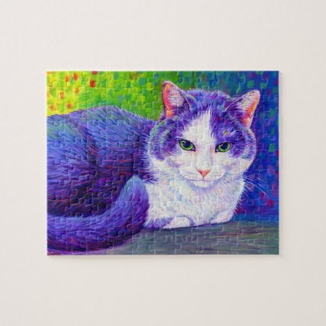 Colorful Gray and White Kitty Cat Puzzle