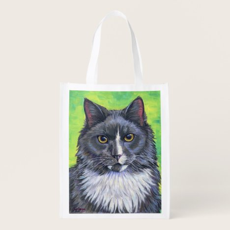 Colorful Gray and White Longhaired Cat Grocery Bag