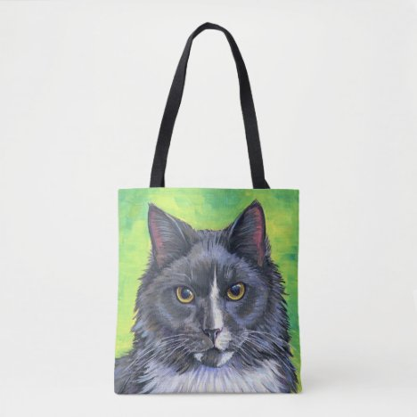 Colorful Gray and White Longhaired Cat Tote Bag