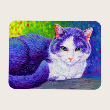 Colorful Gray and White Tuxedo Cat Flexible Magnet