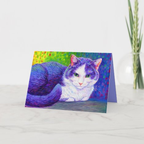 Colorful Gray and White Tuxedo Cat Greeting Card