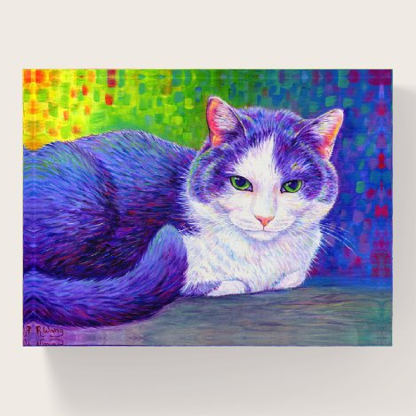 Colorful Gray and White Tuxedo Cat Paperweight