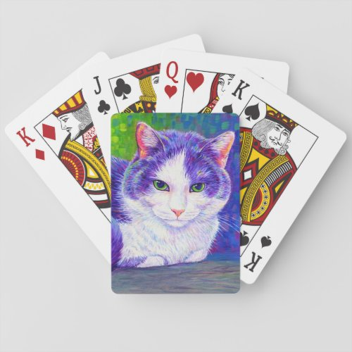 Colorful Gray and White Tuxedo Cat Playing Cards
