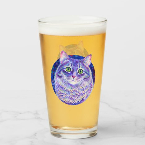 Colorful Gray Tabby Cat Drinking Glass Cup