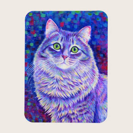 Colorful Gray Tabby Cat Flexible Magnet