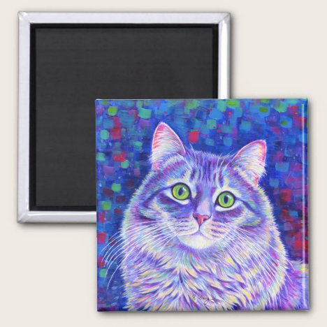 Colorful Gray Tabby Cat Magnet