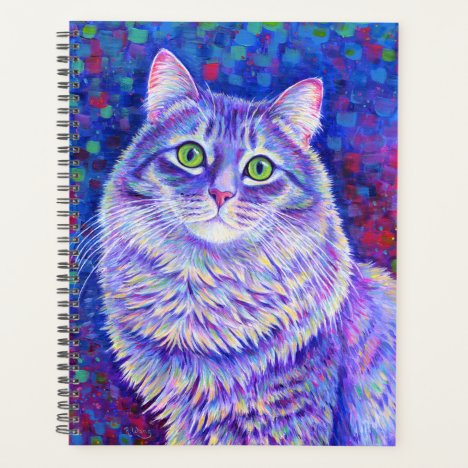 Colorful Gray Tabby Cat Planner