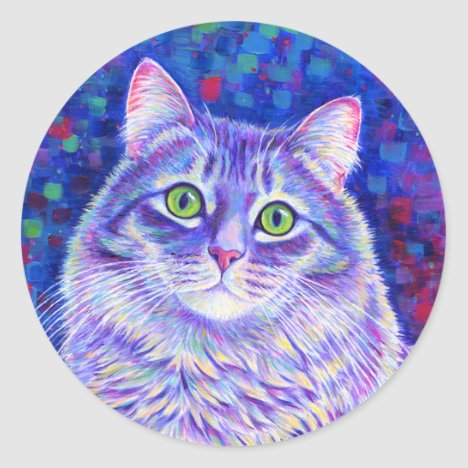 Colorful Gray Tabby Cat Stickers