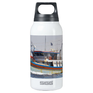Colorful Greek Fishing Boat Insulated Water Bottle