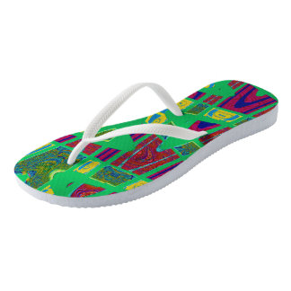 Colorful green abstract design flip flops