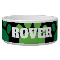 Colorful Green and Black Retro Animal Paw Print Bowl