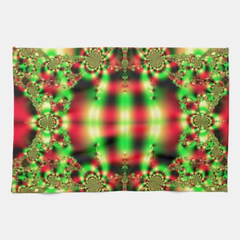Colorful Green and Red Tartan Hand Towels