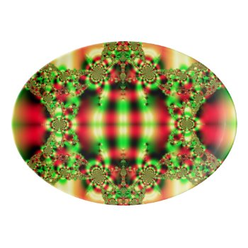 Colorful Green and Red Tartan Porcelain Serving Platter